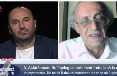 Prof. dr. Vasile Astărăstoae, EXCLUSIV la Marius Tucă Show: Nu ştim câţi morţi sunt din cauza acestui virus. Sunt declaraţi decedaţi din cauza COVID-19 cei cu simptome asemănătoare cu cele de SARS-COV-2, dar cu teste negative