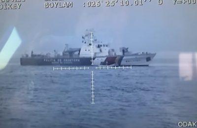 Navele româneşti care patrulează frontierele exterioare ale Uniunii Europene au fost surprinse în timp ce efectuau manevre periculoase. Românii sunt acuzaţi că încalcă legislaţia internaţională